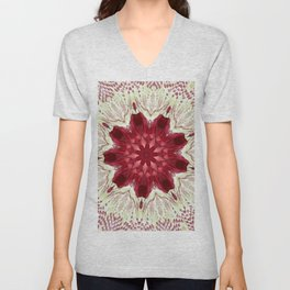 Cayenne Rose Vintage Doily Kaleidoscope Unisex V-Neck