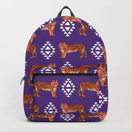 Tiger Clemson purple and orange university fan varsity college football Backpack