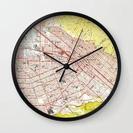 Vintage Map of Burbank California (1953) Wall Clock