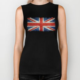 Union Jack flag, grungy retro 1:2 scale Biker Tank