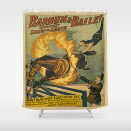 Vintage poster - Circus Horse Jumping Through Fire Shower Curtain
