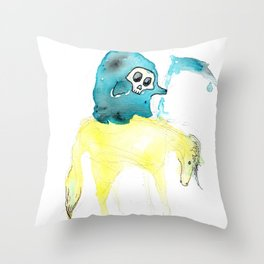 Lil Deathster the Ankle Scyther and Pasty the Pallid Pony Throw Pillow