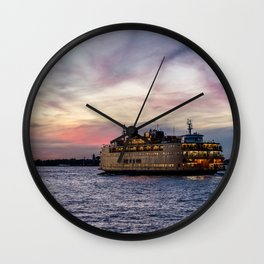Red Sky Ferry Wall Clock