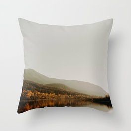 The Faded Forest on a River (Color) Throw Pillow