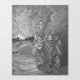 Lot Flees as Sodom and Gomorrah Burn Gustave Dore Canvas Print