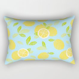 Bright And Sunny And Stamped Lemon Citrus Pattern Rectangular Pillow