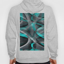 Eighties Turquoise and Grey Arched Line Pattern Hoody