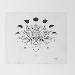 Moon Phase Lotus Throw Blanket