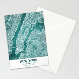 Turquoise Teal Wall Art Showing Manhattan New York City, Brooklyn and New Jersey Stationery Cards