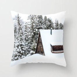 Log Cabin in the Snow, Winter Wall Art Throw Pillow