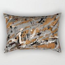 Gray, Black and Caramel Abstract Rectangular Pillow