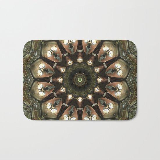 Rusty Alien Head Mandala Bath Mat