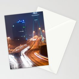 Traffic trails on the bridge Stationery Cards