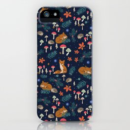 Fox and Hedgehog in Toadstool Woods In Blue iPhone Case