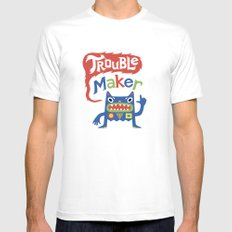 Trouble Maker MEDIUM White Mens Fitted Tee