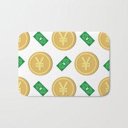 Japanese yen pattern background. Bath Mat