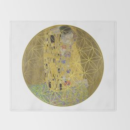The Kiss - Gustav Klimt - Golden Flower Of Life Throw Blanket