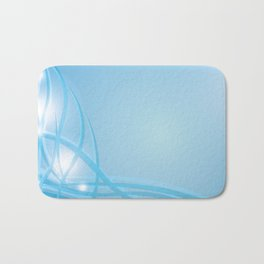 Blue background with beautiful smooth lines and lights. Lights and iridescent lines on a blue backgr Bath Mat