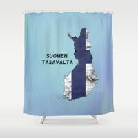 finland Shower Curtains featuring Finland / Suomen Tasavalta by Dandy Octopus