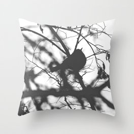 Little Bird Silhouette Black and White Photography Throw Pillow