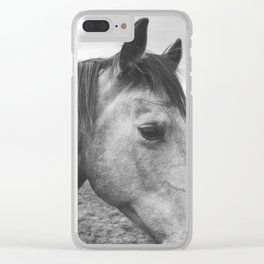 Horse Print in Black and White Clear iPhone Case