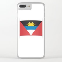Flag of Antigua and Barbuda.  The slit in the paper with shadows. Clear iPhone Case