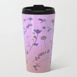 Vintage Lilac Wildflowers Metal Travel Mug