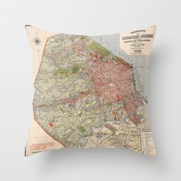 Map Of Buenos Aires 1912 Throw Pillow