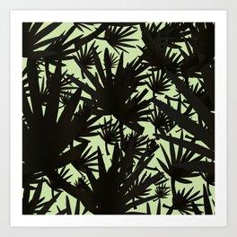 Modern black green abstract tropical leaves Art Print