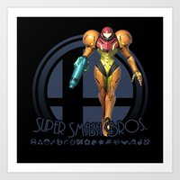 super smash bros Art Prints featuring Samus - Super Smash Bros. by Donkey Inferno