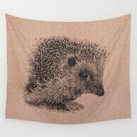 hedgehog Wall Tapestries featuring hedgehog by Fru Kuhari