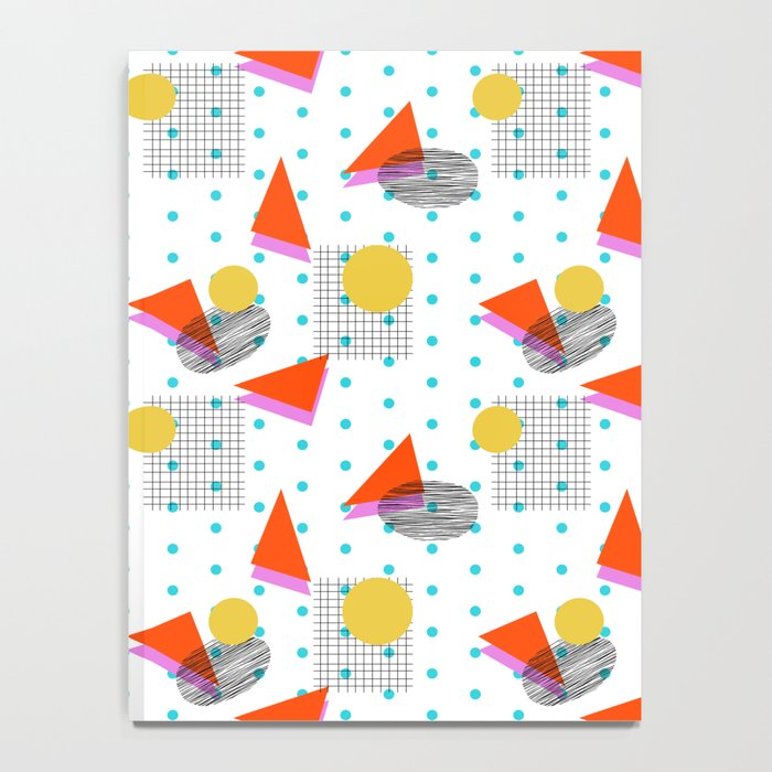Bounce - abstract minimal retro throwback 1980s grid circle shapes memphis design pattern print art Notebook