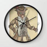 drum Wall Clocks featuring Drum Cat by Felis Simha