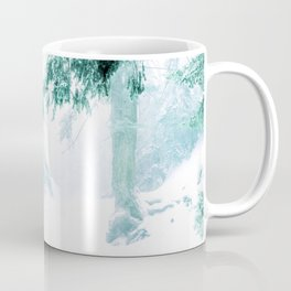 Emerald forest in blizzard and snow Coffee Mug