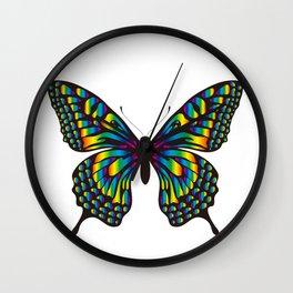 Butterfly Pattern_rainbow01 Wall Clock