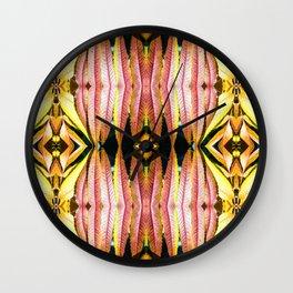 Fresh orange sumac leaves pattern symmetrical kaleidoscope Wall Clock