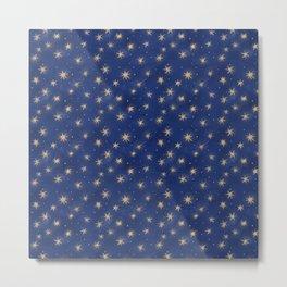 Walking in the air. Winter starry night sky pattern Metal Print