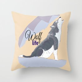 Wolf Life feat. Belette Le Pink Throw Pillow