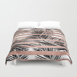 Trendy tropical palm trees chic rose gold stripes Duvet Cover