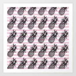 Pink Striped Pineapple Pattern Art Print