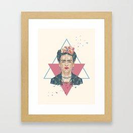Pastel Frida - Geometric Portrait with Triangles Framed Art Print