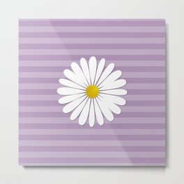 Daisy Flowers, Petals, Blossoms - White Yellow  Metal Print