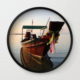 Sunset boat Wall Clock