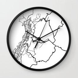QUITO ECUADOR BLACK CITY STREET MAP ART Wall Clock