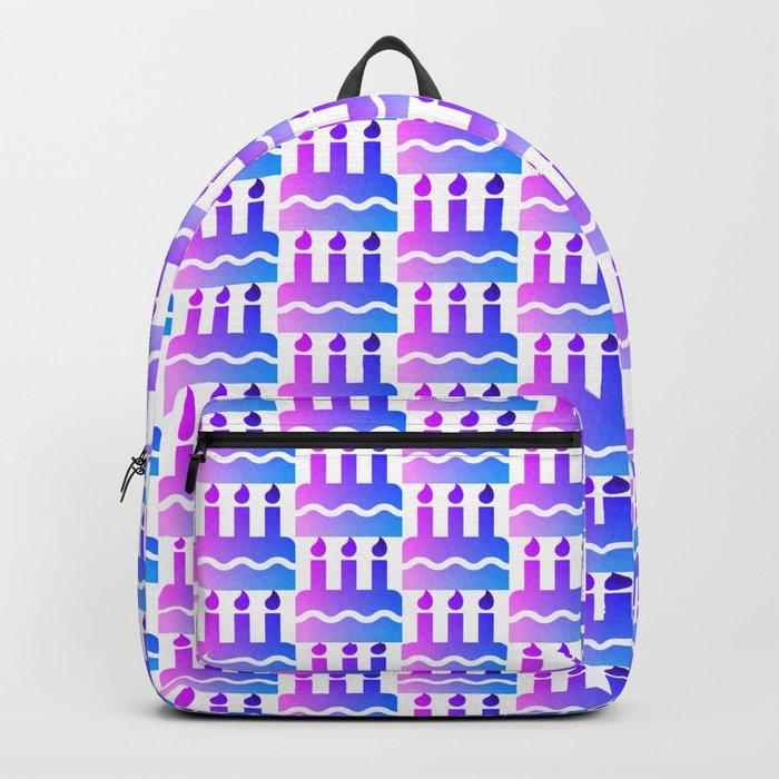 Purple pink blue happy birthday cake print Backpack