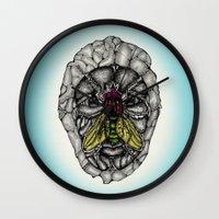 skulls Wall Clocks featuring skulls by Hanan Azran