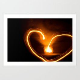 fire heart Art Print