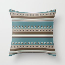 Squares and Stripes in Brown and Teal Throw Pillow