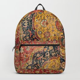 Indian Boho III // 16th Century Distressed Red Green Blue Flowery Colorful Ornate Rug Pattern Backpack