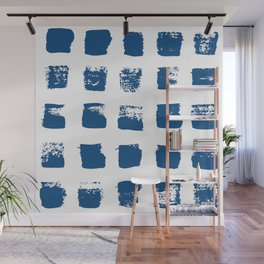 Painted squares pattern in classic blue Wall Mural